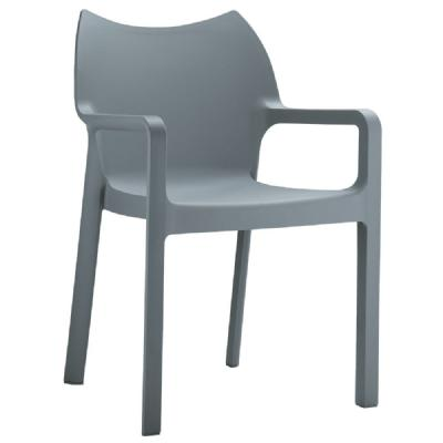 Diva Resin Outdoor Dining Arm Chair Dark Gray ISP028-DGR