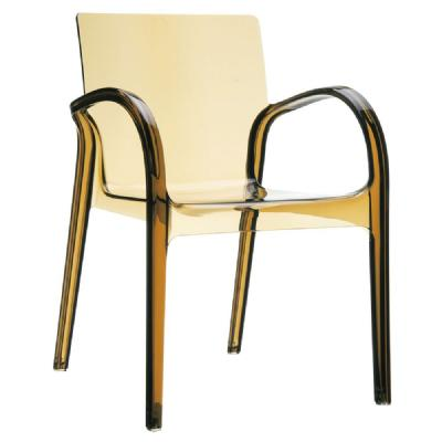 Dejavu Clear Plastic Outdoor Arm Chair Amber ISP032-TAMB
