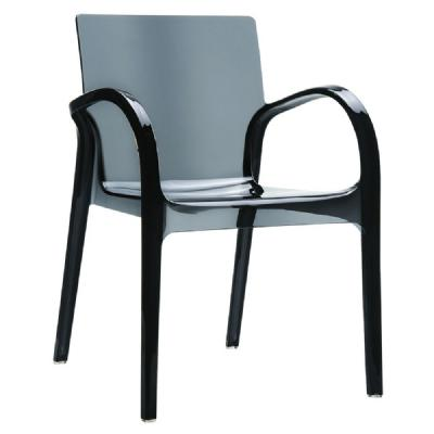 Dejavu Polycarbonate Arm Chair Transparent Black ISP032-TBLA