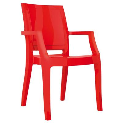 Arthur Polycarbonate Arm Chair Red ISP053-GRED