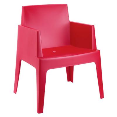 Box Outdoor Dining Chair Red ISP058-RED