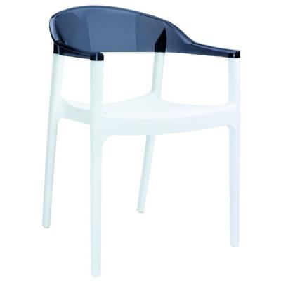 Carmen Dining Armchair White with Transparent Black Back ISP059-WHI-TBLA
