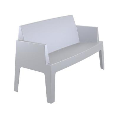 Box Outdoor Bench Sofa Silver Gray ISP063-SIL