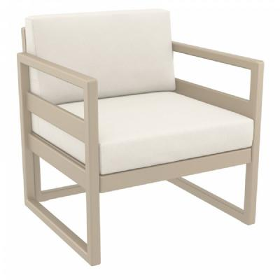 Mykonos Club Chair Taupe with Sunbrella Natural Cushion ISP131-DVR-CNA