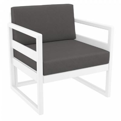 Mykonos Club Chair White with Sunbrella Charcoal Cushion ISP131-WHI-CCH