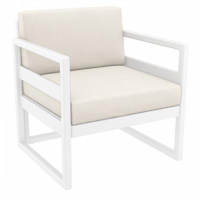 Mykonos Club Chair White with Sunbrella Natural Cushion ISP131-WHI-CNA
