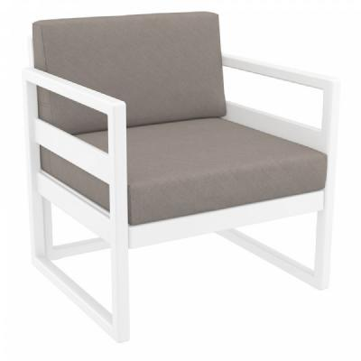 Mykonos Club Chair White with Sunbrella Taupe Cushion ISP131-WHI-CTA