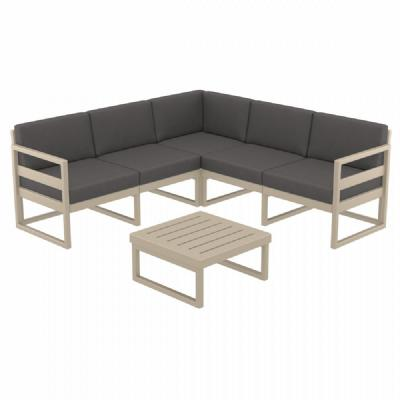 Mykonos Corner Sectional 5 Person Lounge Set Taupe with Sunbrella Charcoal Cushion ISP134-DVR-CCH