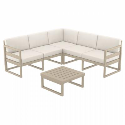 Mykonos Corner Sectional 5 Person Lounge Set Taupe with Sunbrella Natural Cushion ISP134-DVR-CNA