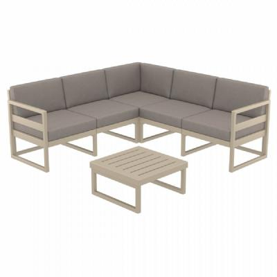 Mykonos Corner Sectional 5 Person Lounge Set Taupe with Sunbrella Taupe Cushion ISP134-DVR-CTA