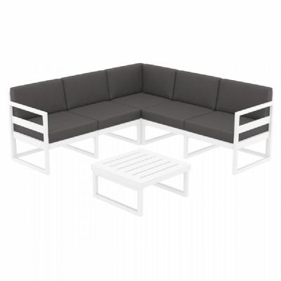 Mykonos Corner Sectional 5 Person Lounge Set White with Sunbrella Charcoal Cushion ISP134-WHI-CCH