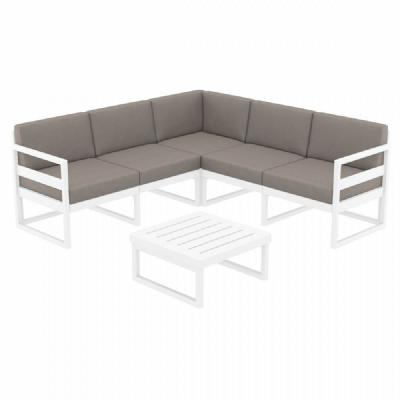 Mykonos Corner Sectional 5 Person Lounge Set White with Sunbrella Taupe Cushion ISP134-WHI-CTA