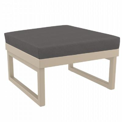 Mykonos Square Ottoman Taupe with Sunbrella Charcoal Cushion ISP137F-DVR-CCH