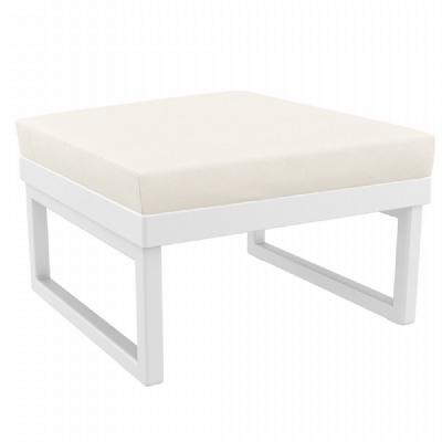 Mykonos Square Ottoman White with Sunbrella Natural Cushion ISP137F-WHI-CNA