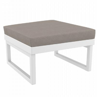 Mykonos Square Ottoman White with Sunbrella Taupe Cushion ISP137F-WHI-CTA