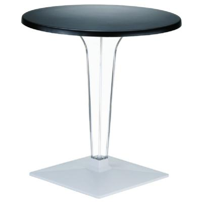 Ice Round Dining Table Black Top 24 inch. ISP500-BLA