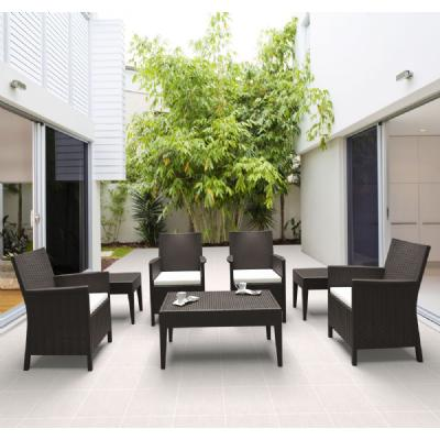 California Wickerlook Resin Patio Seating Set 7 Piece Brown ISP8062S-BR