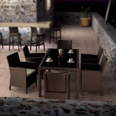 California Wickerlook Resin Patio Dining Set 7 Piece Brown ISP8063S-BR