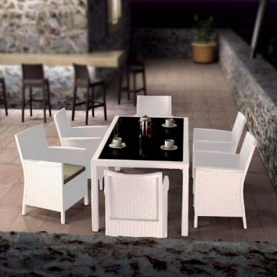 California Wickerlook Resin Patio Dining Set 7 Piece White ISP8063S-WH