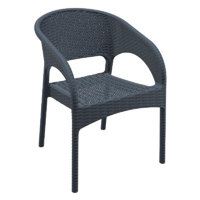 Panama Wickerlook Resin Dining Armchair Dark Gray ISP808-DG