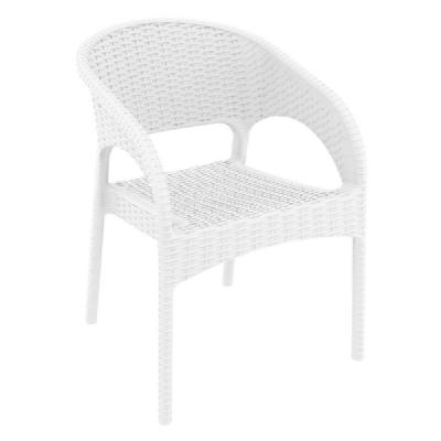 Panama Wickerlook Resin Dining Armchair White ISP808-WH