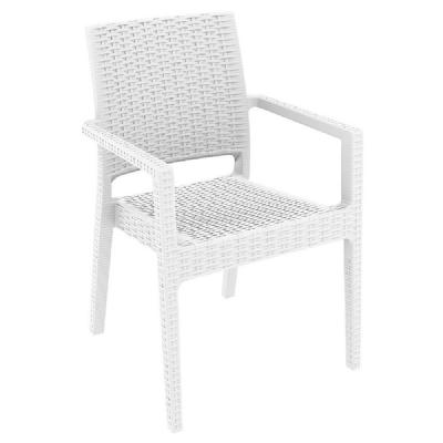 Ibiza Resin Wickerlook Dining Arm Chair White ISP810-WH