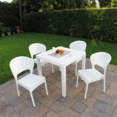 Daytona Wickerlook Square Patio Dining Set 5 Piece White ISP8181S-WH