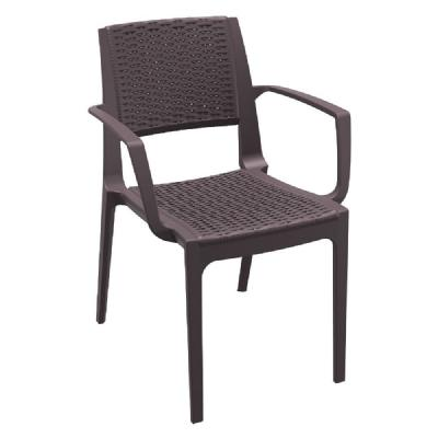 Capri Resin Wickerlook Arm Chair Brown ISP820-BR