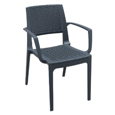Capri Resin Wickerlook Arm Chair Dark Gray ISP820-DG