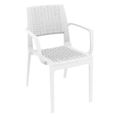 Capri Resin Wickerlook Arm Chair White ISP820-WH