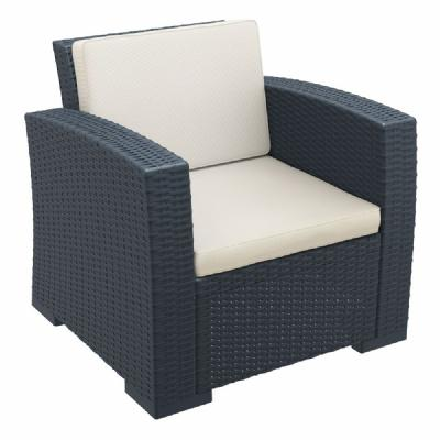 Monaco Wickerlook Club Chair Dark Gray with Cushion ISP831-DG