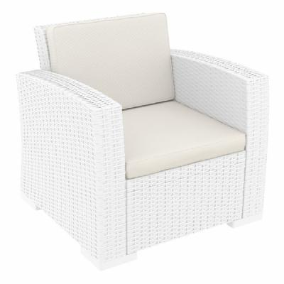 Monaco Wickerlook Club Chair White with Cushion ISP831-WH