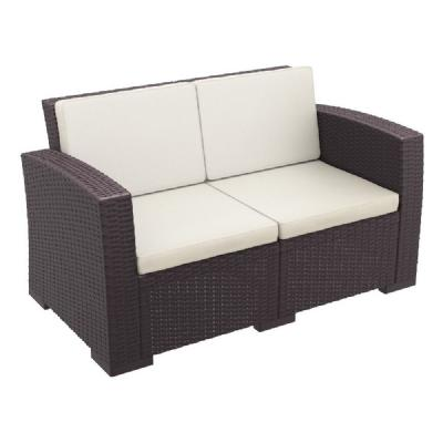 Monaco Wickerlook Loveseat Brown with Cushion ISP832-BR