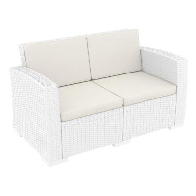 Monaco Wickerlook Loveseat White with Cushion ISP832-WH