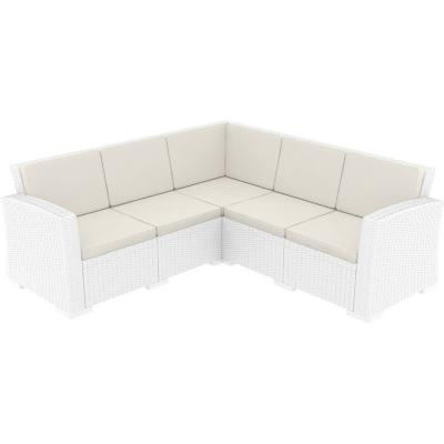 Monaco Wickerlook Corner Sectional 5 Piece with Cushion White ISP834-WH-BEI