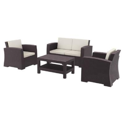 Monaco Wickerlook 4 Piece Loveseat Set Brown with Cushion ISP835-BR
