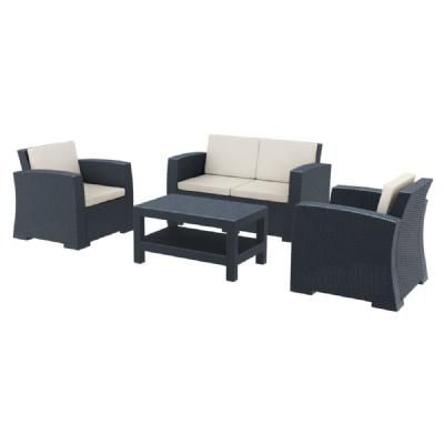 Monaco Wickerlook 4 Piece Loveseat Deep Seating Set Dark Gray with Cushion ISP835-DG