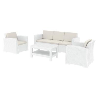 Monaco Wickerlook 4 Piece XL Sofa Deep Seating Set White with Cushion ISP836-WH