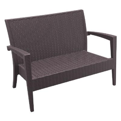 Miami Resin Wickerlook Loveseat Brown ISP845-BR