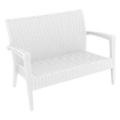 Miami Resin Wickerlook Loveseat White ISP845-WH