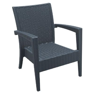 Miami Resin Wickerlook Club Chair Dark Gray ISP850-DG