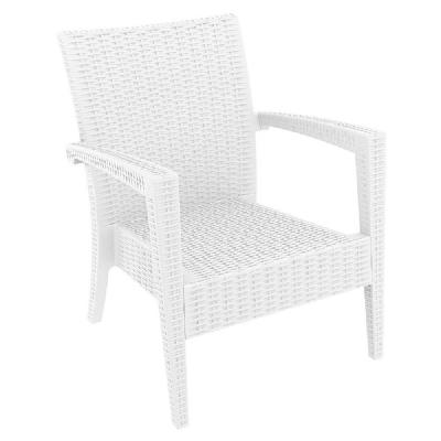 Miami Resin Wickerlook Club Chair White ISP850-WH