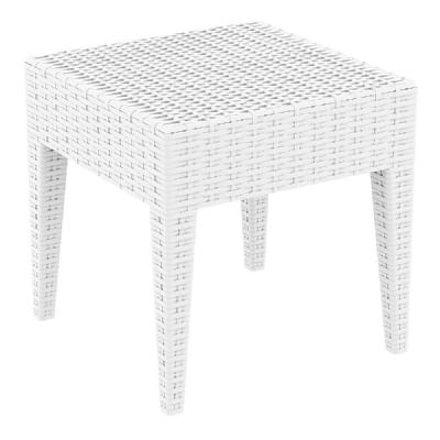 Miami Square Resin Wickerlook Side Table White ISP858-WH