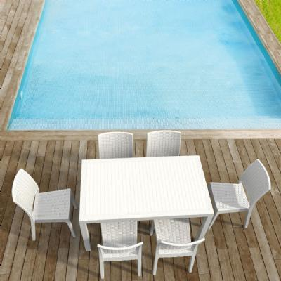 Orlando Wickerlook Patio Dining Set 7 Piece White ISP8781S-WH