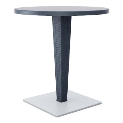 Riva Wickerlook Resin Round Dining Table Gray 28 inch. ISP882-DG