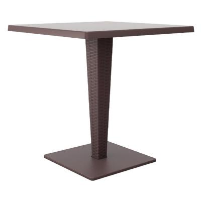Riva Wickerlook Resin Square Dining Table Brown 28 inch. ISP884-BR