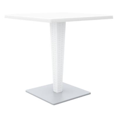 Riva Wickerlook Resin Square Dining Table White 28 inch. ISP884-WH