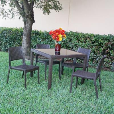 Miami Wickerlook Square Dining Set 5 Piece Brown ISP992S-BR