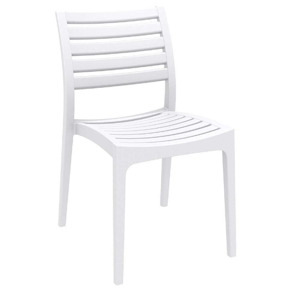 pamia Ares Resin Outdoor Dining Chair White ISP009 WHI