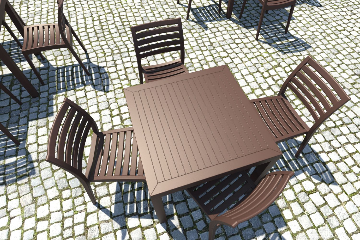 Ares Resin Outdoor Dining Chair Cafe Latte ISP009-TEA - 8